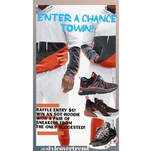Raffle ticket for SOT sweatsuit and Nike sneakers.